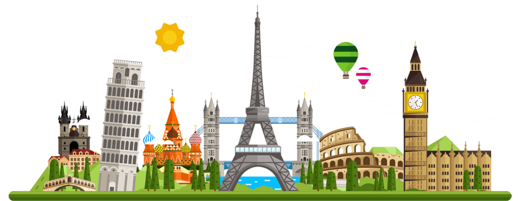 Animated image displaying Europe's various iconic landmarks. Including the Leaning Tower of Pisa, the Eiffel Tower, the Colosseum, and Big Ben.
